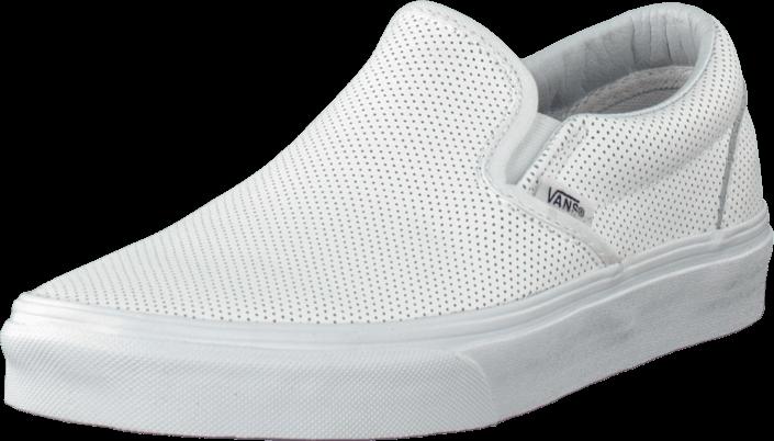 Kjøp Vans Classic Slip-On (Perf Leather) White Hvite Sko Online