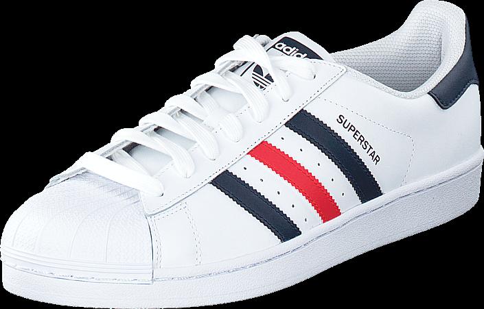 Kjøp adidas Originals Superstar Foundation Ftwr White/Collegiate Navy/Red Hvite Sko Online