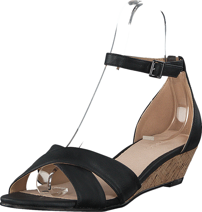 Kjøp Bianco Low Wedge Sandal Black Brune Sko Online