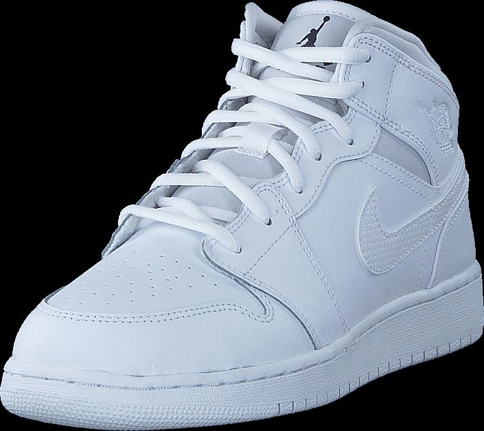 Kjøp Nike Air Jordan 1 Mid (gs) Shoe White Black White Hvite Sko Online