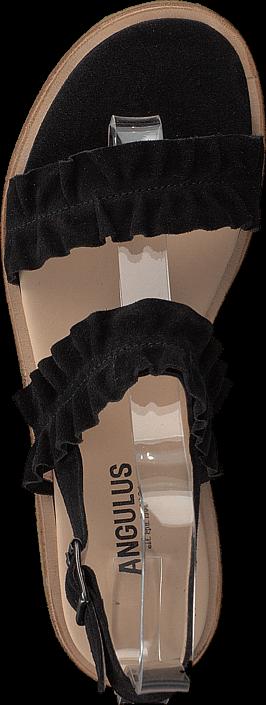 Kjøp Angulus Sandal With Ruffles And Buckle Black Svarte Sko Online