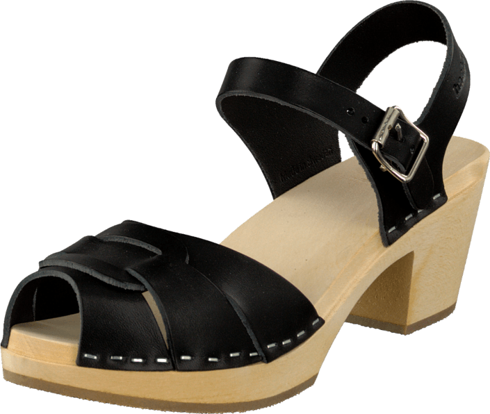 Swedish Hasbeens Peep Toe High Black/Nature Sole