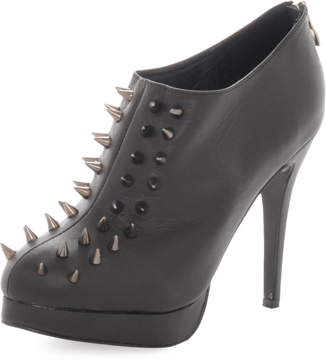 Fashion By C Heel with rivets Black
