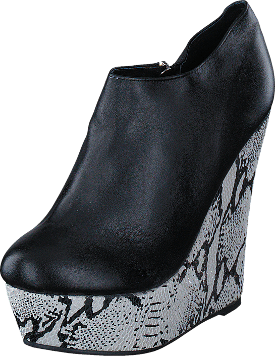 Fashion By C - Snake wedge Black/white