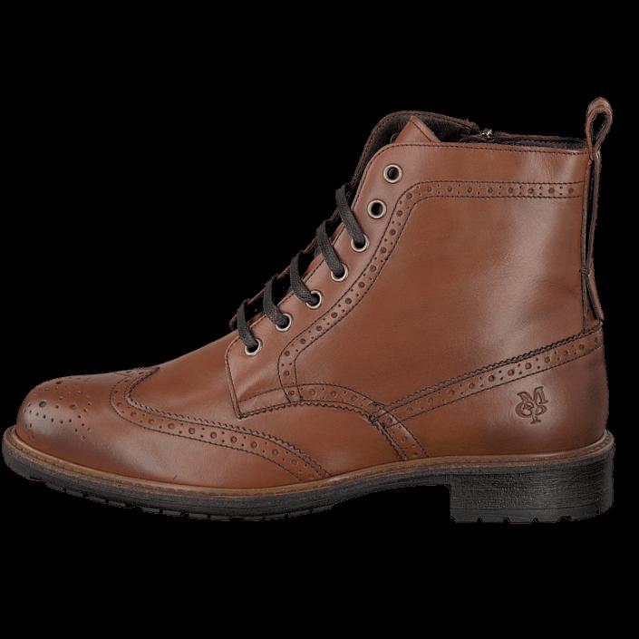 kj p marc o 39 polo lace flatheel bootie 720 cognac bruna sko online. Black Bedroom Furniture Sets. Home Design Ideas