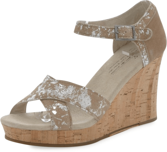 Toms - Strappy Wedge Sand Brushed Metal