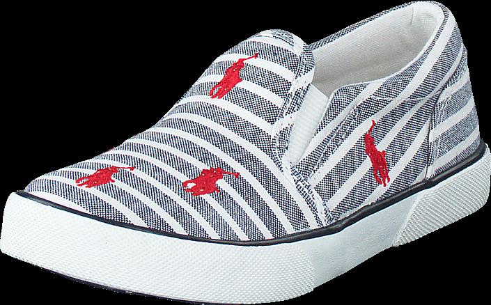 Billede af Ralph Lauren Junior Bal Harbour Repeat Navy Bengal Stripe Canvas Red, Sko, Flade sko, Slip on, Hvid, Unisex, 20