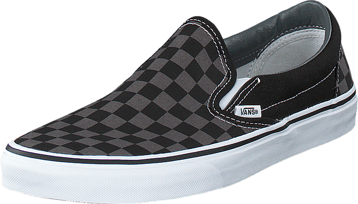 vans classic slip on checkerboard black black