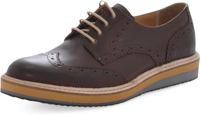 Knowledge Cotton Apparel - Brogue Shoe Dark Earth