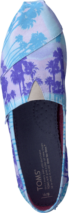 Toms - Women's Classics Blue Palm Trees Vegan