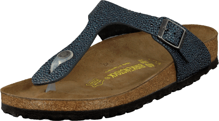 Birkenstock - Gizeh Regular Leather Pebbles Metallic Asphalt