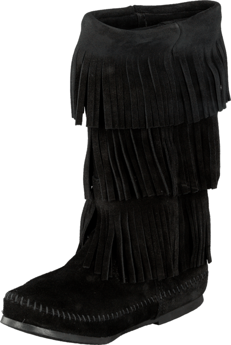 Minnetonka - 3-Layer Fringe Boot Black