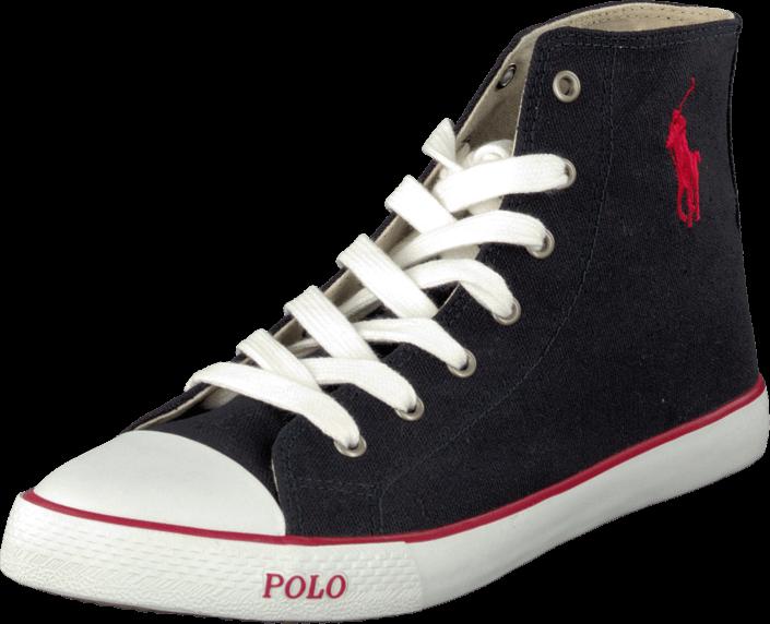 Billede af Ralph Lauren Junior Carson Mid Navy/Red, Sko, Sneakers & Sportsko, Høje Sneakers , Sort, Unisex, 35