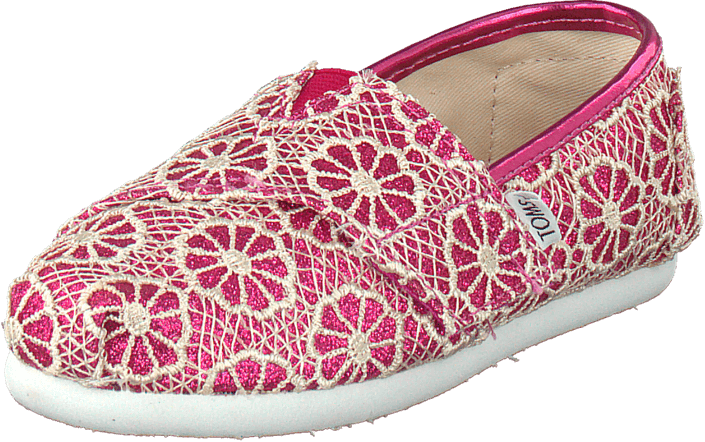 Toms - Seasonal classic tiny Pink crochet glitter
