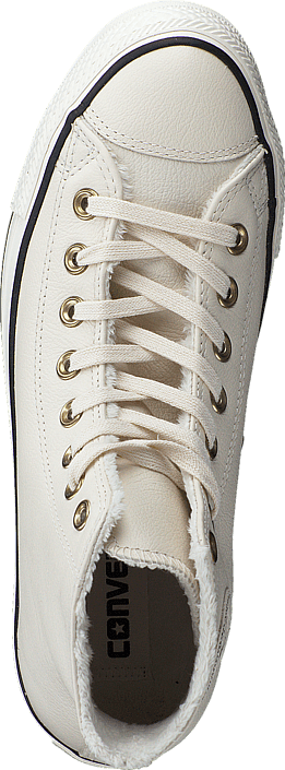Converse All Star Shearling Leather-Hi Parchment/Black/Egret