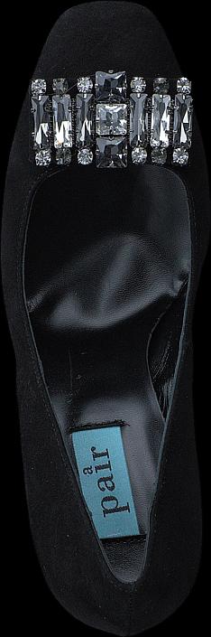 A Pair - Low Pump W/Swarowski Black Suede