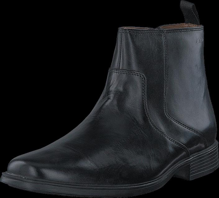 Clarks Tilden Zip Black Leather, Sko, Boots & Støvler, Chelsea boots, Sort, Herre, 40