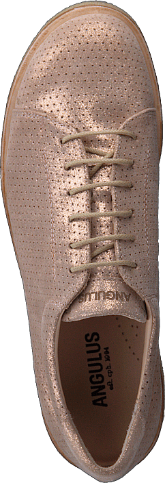 Angulus Sneaker With Plateau Sole Copper Glitter