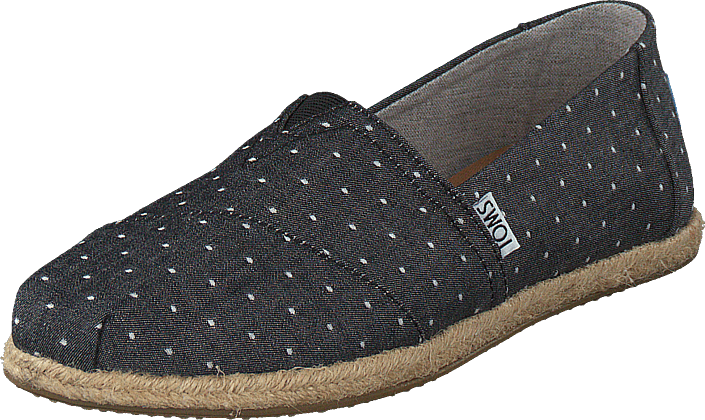 Toms - Alpargata Black Dot Chambray Rope Sole