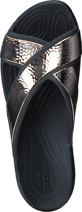 Crocs Sloane Hammered Xstrp Slide W Black/rose Gold