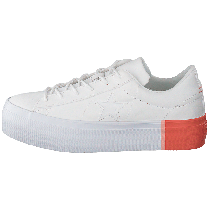Osta Converse One Star Platform White bright Poppy white harmaat Kengät  Online  9171e43ae5