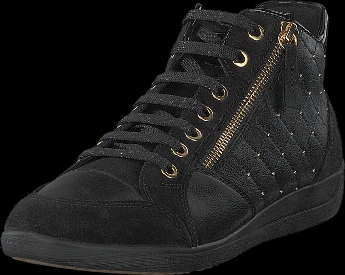 Geox D Myria C Synth Lea Suede Black, Sko, Sneakers & Sportsko, Høye Sneakers, Svart, Dame, 38