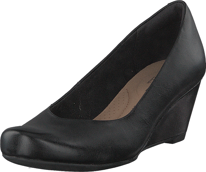 Footway SE - Clarks Flores Tulip Black Leather, Skor, Klackskor, Pumps, Svart, Dam, 40 847.00