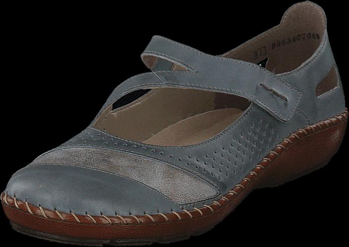 Rieker 44866-12 Azur, Sko, Lave sko, Maryjanes, Grå, Dame, 36