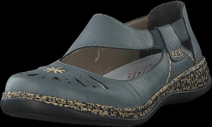 Rieker 46315-12 Whitedenim, Sko, Lave sko, Maryjanes, Grå, Dame, 36